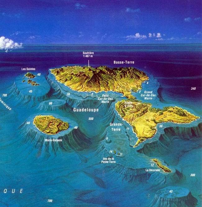 Carte des fosse marines de la Guadeloupe